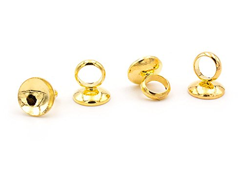 Vintageparts Aufhängungen für Hohlperlen in goldfarben 6 Stück DIY Schmuck