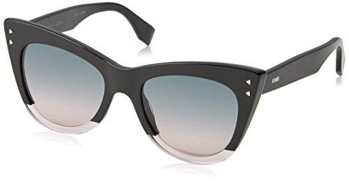 Fendi Pink Sunglasses (Fendi FF 0238 3H2 Color Block Black Crystal Light Pink Plastic Cat-Eye Sunglasses Light Pink Gradient Lens)