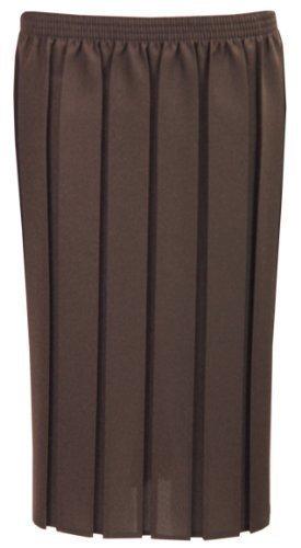 CELEB LOOK D99 Nouveau Femme Fille Uni Plisslastique Taille Haute Dames Plus Jupe 12-26 Marron