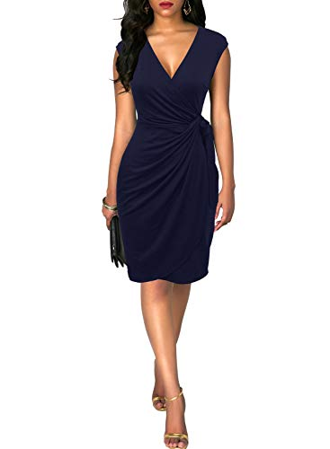 Berydress Women Classy Cap Sleeve V Neck Draped Belt Knee-Length Faux Wrap Dress (L, 6028-Navy) ...