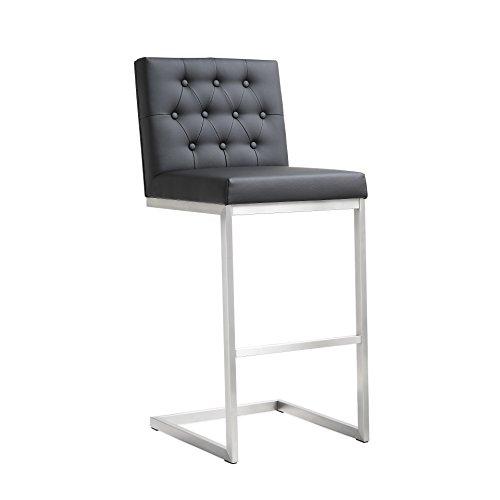Tov Furniture Helsinki Stainless Steel Barstool Set of 2 , Black