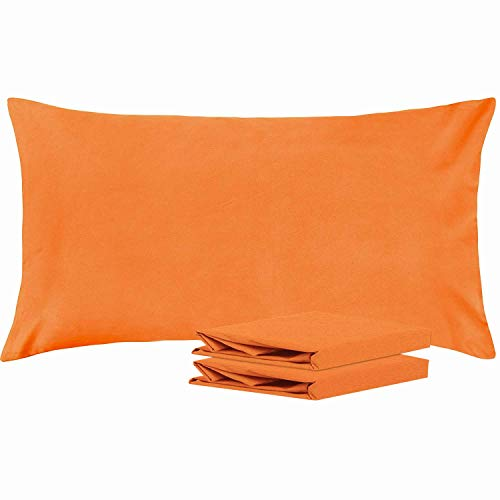 NTBAY King Pillowcases, Set of 2, 100% Brushed Microfiber, Soft and Cozy, Wrinkle, Fade, Stain Resistant, with Envelope Closure, Orange ()