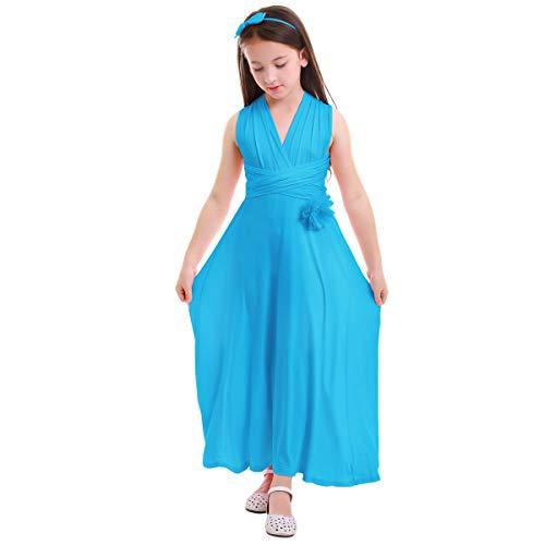 - Little Girl Transformer Convertible Multi Way Wrap Evening Party Dress Short Sleeveless Wedding Bridesmaid Prom Dance Gown Loose Fit Full Length Long Dancewear Praise Liturgical Dress Blue