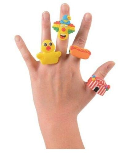 12 - Assorted Rubber Carnival Themed Rings ~Hot Dog Clown Duck Circus Big Top~