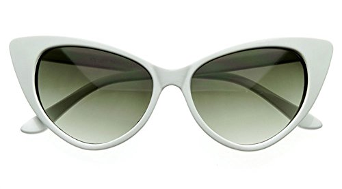 AStyles - Super Cateyes Vintage Inspired Fashion Mod Chic High Pointed Cat Eye Sunglasses Glasses (White)]()