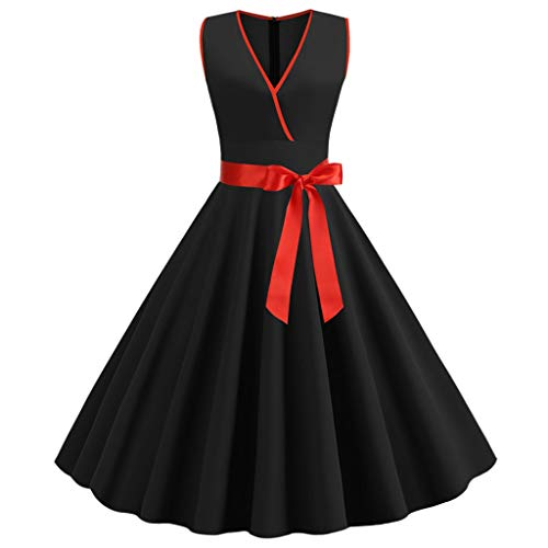 (Sunhusing Women's Vintage Solid Color V-Neck Sleeveless Ribbon Lace-Up Waist-Tie Evening Party Gown Dress Black)