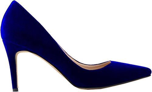 Salabobo Womens Fashion Wedding Bride Work Party Closed Toe Silp ON Cloth Pumps Blue 3LaLo9h