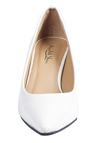 Da A Tacco Slip Bianco Donna Col Scarpe On Punta Shoes eud49 Ageemi Leather v8fIwqy
