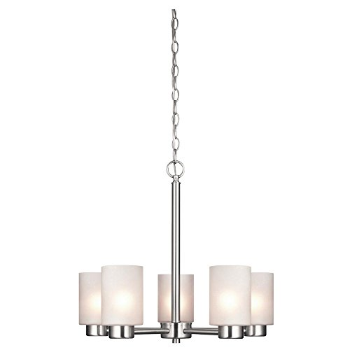 Westinghouse Lighting 6227400 Sylvestre Five-Light Interior Chandelier, Brushed Nickel Finish with Frosted Seeded Glass, 5 ()