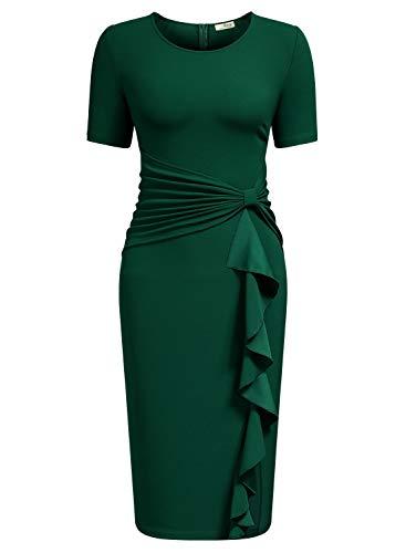 AISIZE Women 1950s Vintage Ruffle Cocktail Knee Dress Small Dark Green