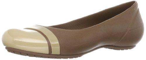 crocs Women's 12300 Cap Toe Flat,Bronze/Gold,9 W -