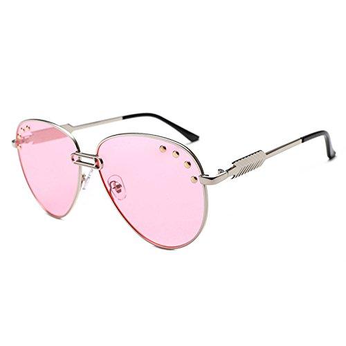 Gafas rosa plata UV400 ZHANGYUSEN de traje de cristalino mujer océano Eyewear Gafas sol decorativas metal piloto 6 Pasadores 2018 5 Sol Retro wwqxTZHt