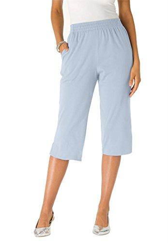 Roamans Women's Plus Size Knit Capris (Pearl Grey,2X)