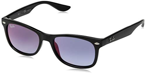 Ray-Ban Junior RJ9052S New Wayfarer Kids Sunglasses, Black/Blue Mirror Red Gradient, 48 mm (New Wayfarer Junior)