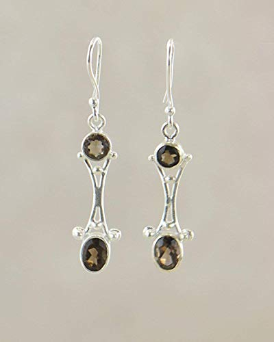 (SIVALYA GAZELLE Smoky Topaz Earrings in 925 Sterling Silver - Polished finish in solid silver)