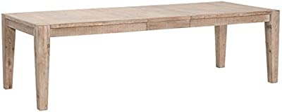 MAKLAINE Extension Dining Table in Smoke Gray Solid Pine Brushed Gold Inlay