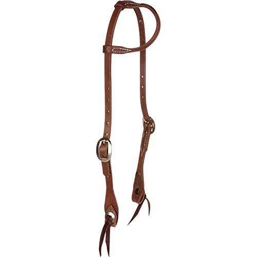 NRS Sliding Oiled One Ear Headstall w/Tie Bit Ends and Conchos