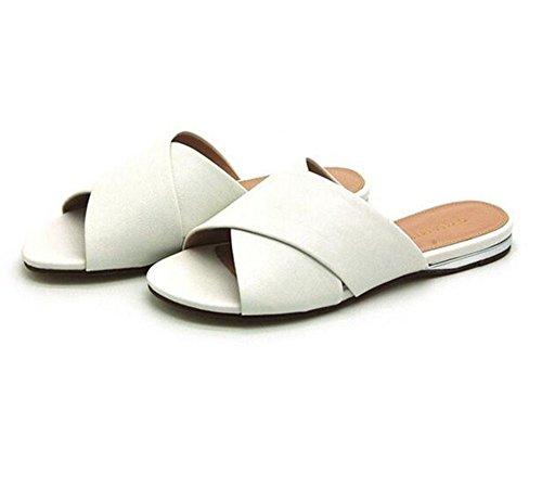 KUKI Sandalen flache beiläufige Sandalen der Frauen Sandalen mit Cross-Slip-Hausschuhe