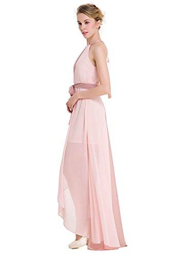 GWELL Elegant Damen Chiffon Maxikleid Neckholder Ärmellos Sommer Frühling  Swing Kleider Abend Cocktailkleid Brautjungfernkleid Rosa LTjH23i ... e0e7e27de8