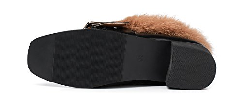 Qzunique Mocassini Moda Donna Pantofole Cony Hair Fodere In Pu Scarpe Con Tacco Nero
