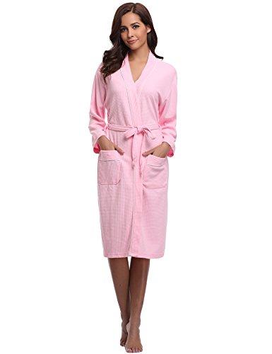 De V Chambre Waffle Femme Aibrou Vêtements Coton Nid L'hôtel Homme D'abeille Nuit Kimono Col Robe Spa Tissage Unisexe Gaufré Rose Peignoir Sauna ZSZYX
