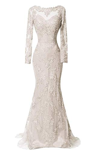HelloLadyBridal Women's Illusions Lace Mermaid Prom Dress Long Sleeves Evening Formal Gown Ivory A 14