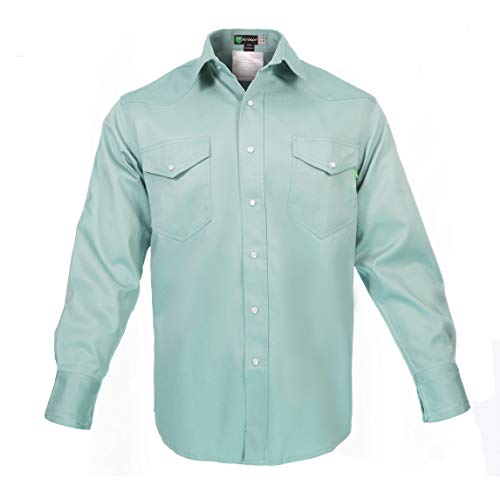 Flame Resistant FR Shirt - Heavy Weight - 100% C - 9 oz (3X Large, Welders Green) by Just In Trend (Image #1)
