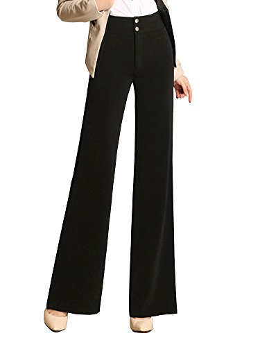 Women's High Waist Boot-Cut Pants Palazzo Pants Slacks Office Work Wide Leg Suit Pants Black Tag 31-US 8