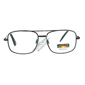 SA106 Rectangular Metal Frame Multi 3 Focus Progressive Reading Glasses Gunmetal 2.5
