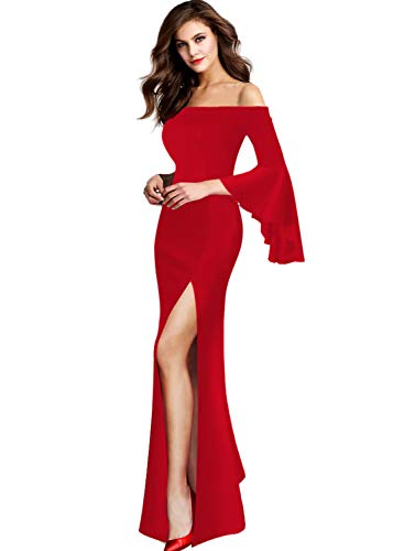 VFSHOW Womens Off Shoulder Bell Sleeve Formal Evening Party Maxi Dress 1066 RED S