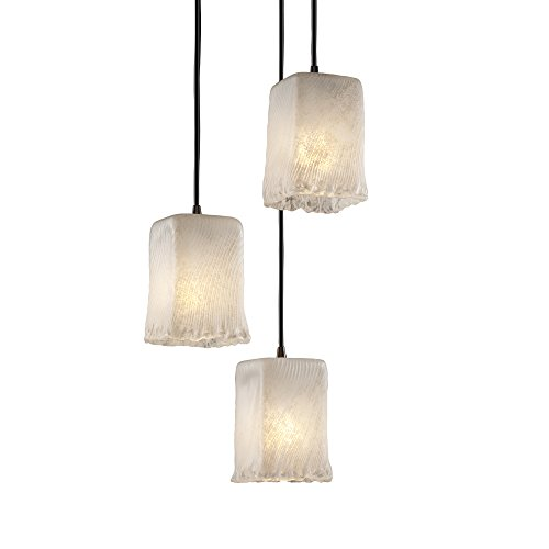 Justice Design Group Lighting GLA886426WHTWDBRZ Veneto Luce Three Light Cluster Pendant, Small Veneto Luce Multi Light