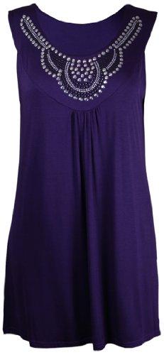 Encolure T Long Strass Femme shirt Sans Hanger Pourpre Neuf Ronde Tunique Clous Purple Taille Dbardeur Perles Manche Grande wp0Xct