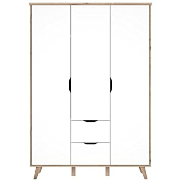 Armoire De Chambre Vankka Scandinave Decor Chene Et Blanc Mat