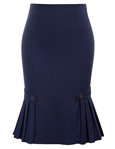 Belle Poque Women Vintage Pleated Fishtail Skirts Stretch Pencil Skirt L BP803-2, Navy Blue