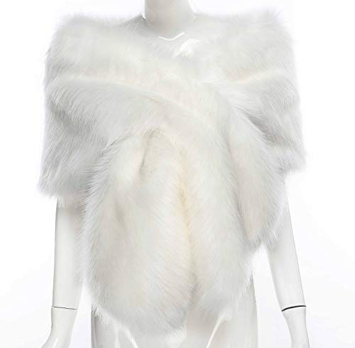Changuan Women's Wedding Shawl Faux Fur Scarf Wraps for Evening/Party/Show White-L