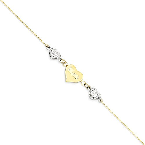ICE CARATS 14k Two Tone Yellow Gold Hearts Mom 1 Inch Adjustable Chain Plus Size Extender Anklet Ankle Beach Bracelet Fine Jewelry Gift Set For Women Heart by ICE CARATS