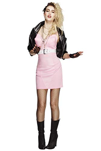 Smiffys Women's Fever 80's Rocker Diva Costume, Dress, Jacket, Belt, Necklace and Headband, Retro, Fever, Size 14-16, 43477
