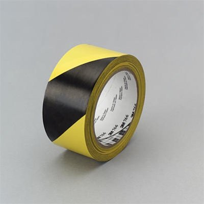 Safe Way Traction 3M Hazard Warning Aisle Marking Safety Tape 766 Black Yellow, 2 in x 36 yd 5.0 mil