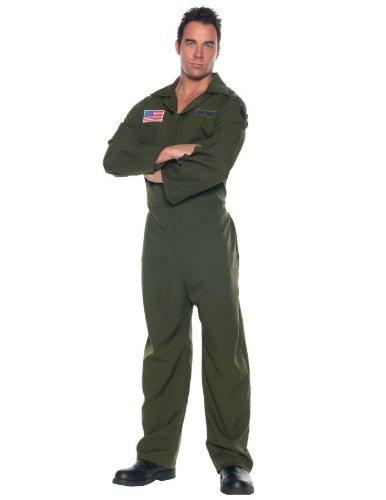 Adult Top Gun Halloween Costumes (Men's Air Force Costume - Jumpsuit, Dark Green, One Size)