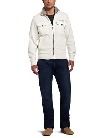 Calvin Klein Jeans Men's Military Fleece Jacket, Pure Ivory, Small