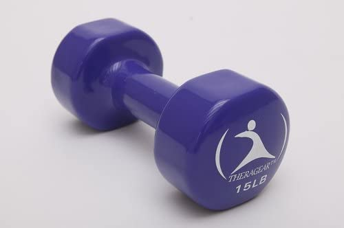 TheraGear Vinyl Dumbbell 15 LB, Dark Blue, Single