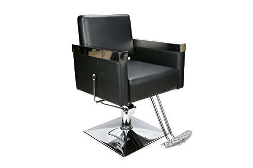 Flair Leather Chair (BarberPub Classic Hydraulic Barber Chair Salon Styling Beauty Spa Chair Black 3021BK)