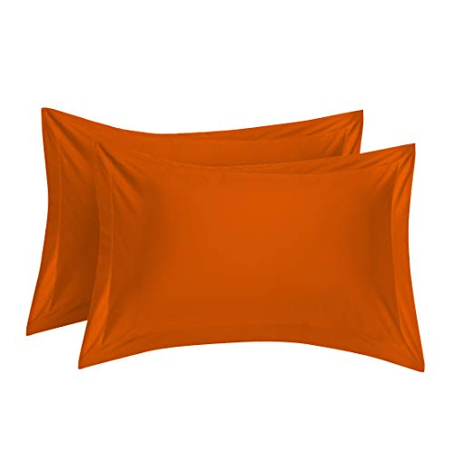 uxcell Pillow Shams Oxford Pillow Cases Egyptian Cotton 300 Thread Count Solid/Plain Pattern Orange 20 x 26 Inch Set of 2 ()