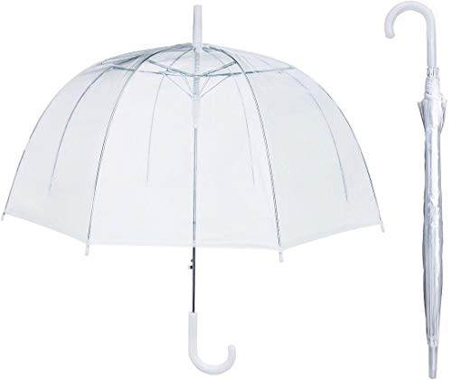 House Of Reign Clear Umbrella BIG 47 INCH ARCH for Women - Dome with EXTRA STRONG Reinforced Fiberglass Ribs Fit for Two ()