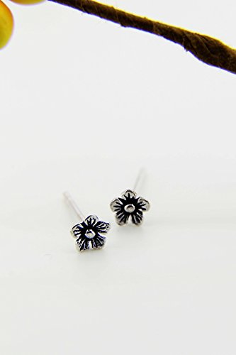 s925 Sterling Silver Thai Silver Flower Earrings earings Dangler Eardrop by KGELE Earrings