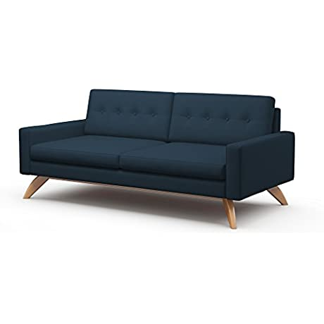 TrueModern Luna Standard Sofa With Fabric Honey Finish 84 Dove