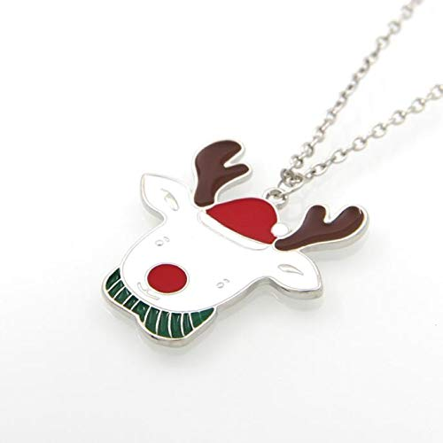 Reindeer Necklace,Haluoo Lovely Gold Plated Santa Claus Reindeer Pendant Necklace Long Sweater Chain Necklace for Women Girls Christmas Jewelry Necklace 28