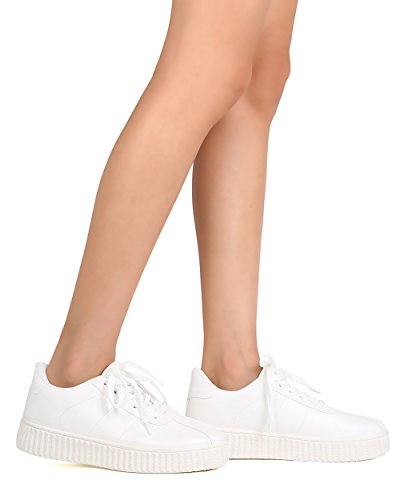 Qupid Fh87 Kvinner Leather Rund Tå Snøre På Flatform Sneaker - Hvit