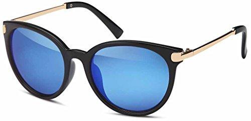 Vintage Lunettes de soleil en tendance Unisexe 60er Années Style avec trendy finition couleur bronze Montures en métal pour hommes & Femmes - Retro lunettes Or-bleu
