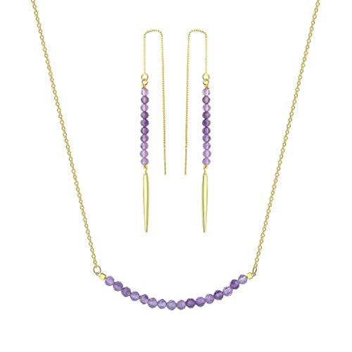 - OKIKO Beaded Birthstone Jewerly Set Drop Earrings Bar Silver Necklace Genuine Gemstone Gift